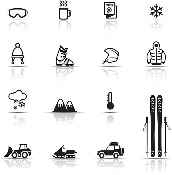 icon-set, skifahren - skifahren stock-grafiken, -clipart, -cartoons und -symbole