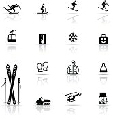 Icon Set, Skiing items on white background, make in adobe Illustrator (vector)