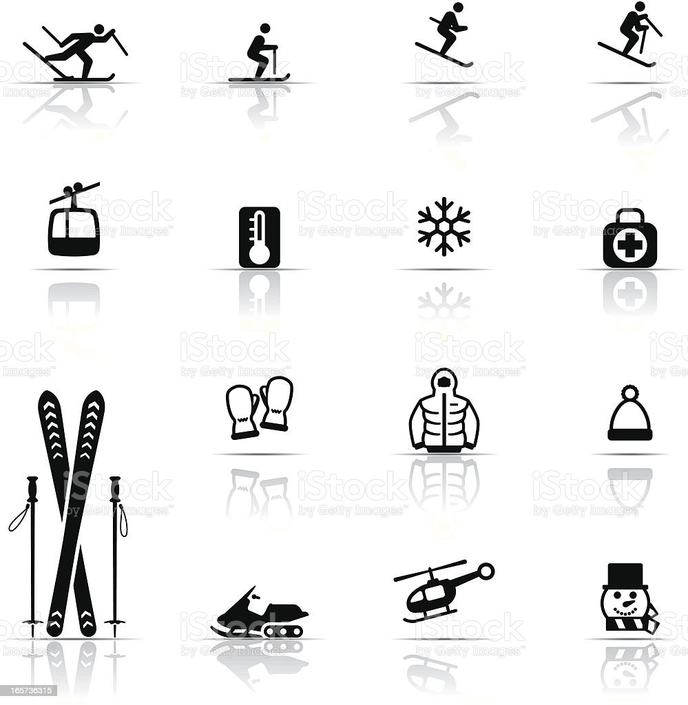 Icon Set, Skiing vector art illustration