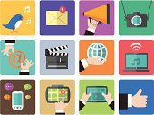 Icon Set, Social Network things on white background, made in adobe Illustrator (vector)