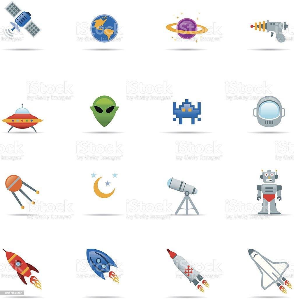 Icon set, Space Color vector art illustration