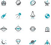 Icon Set, Space things on white background, made in adobe Illustrator (vector)