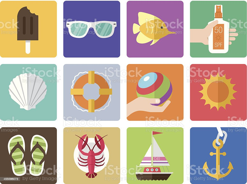 Icon Set, Summer royalty-free icon set summer stock vector art & more images of anchor - vessel part
