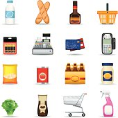 Icon Set, supermarket on white background, make in adobe Illustrator (vector)