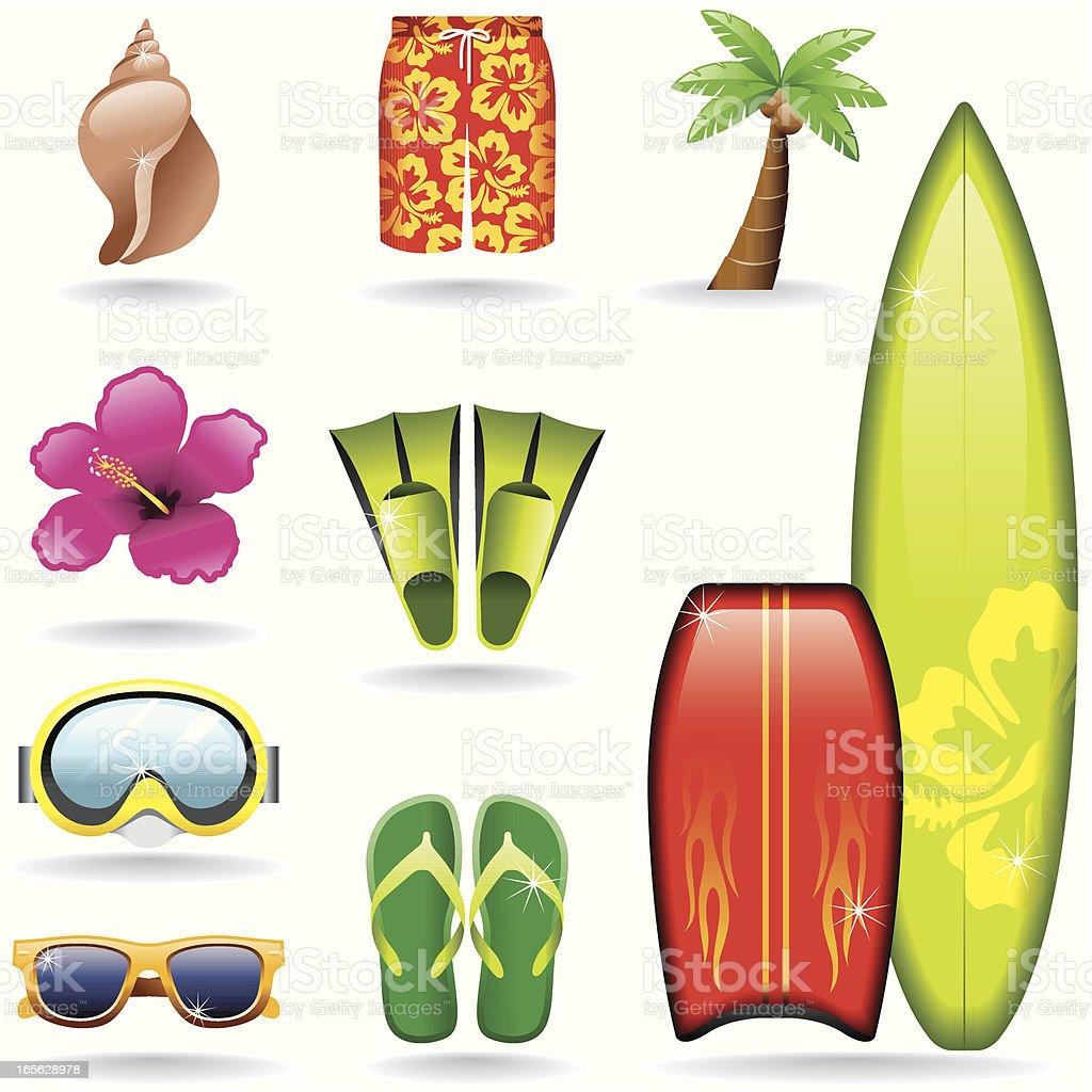 Icon Set, Surf vector art illustration