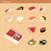Create your sushi bento with these ingredients. Make your own hip sushi menu with these elements. Let me know what sushi is still missing and I can draw 'em for you!