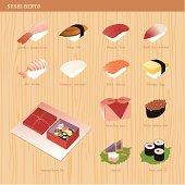 Icon set: Sushi Bento icons