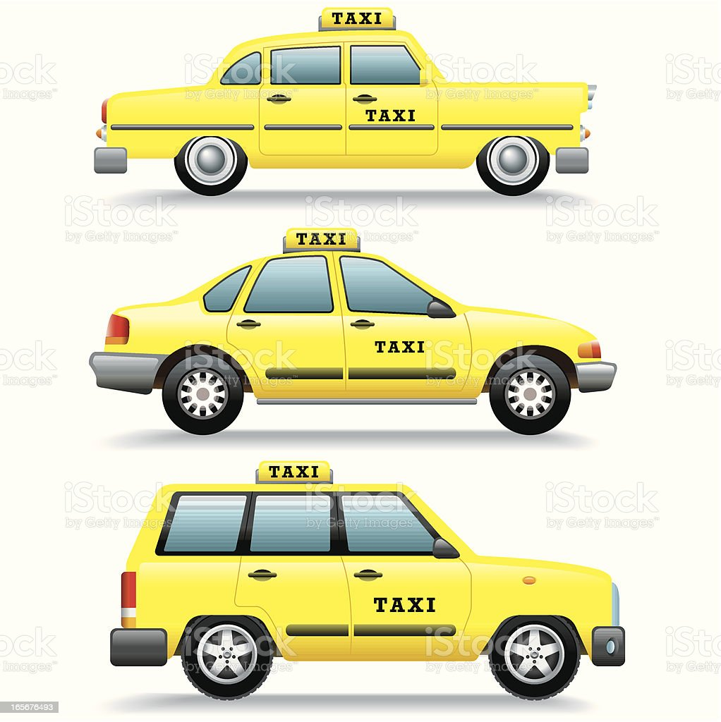 Icon set, Taxi cars vector art illustration