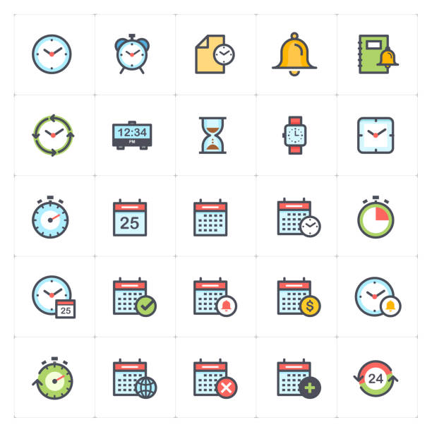Icon set - time and schedule full color outline stroke vector illustration vector art illustration