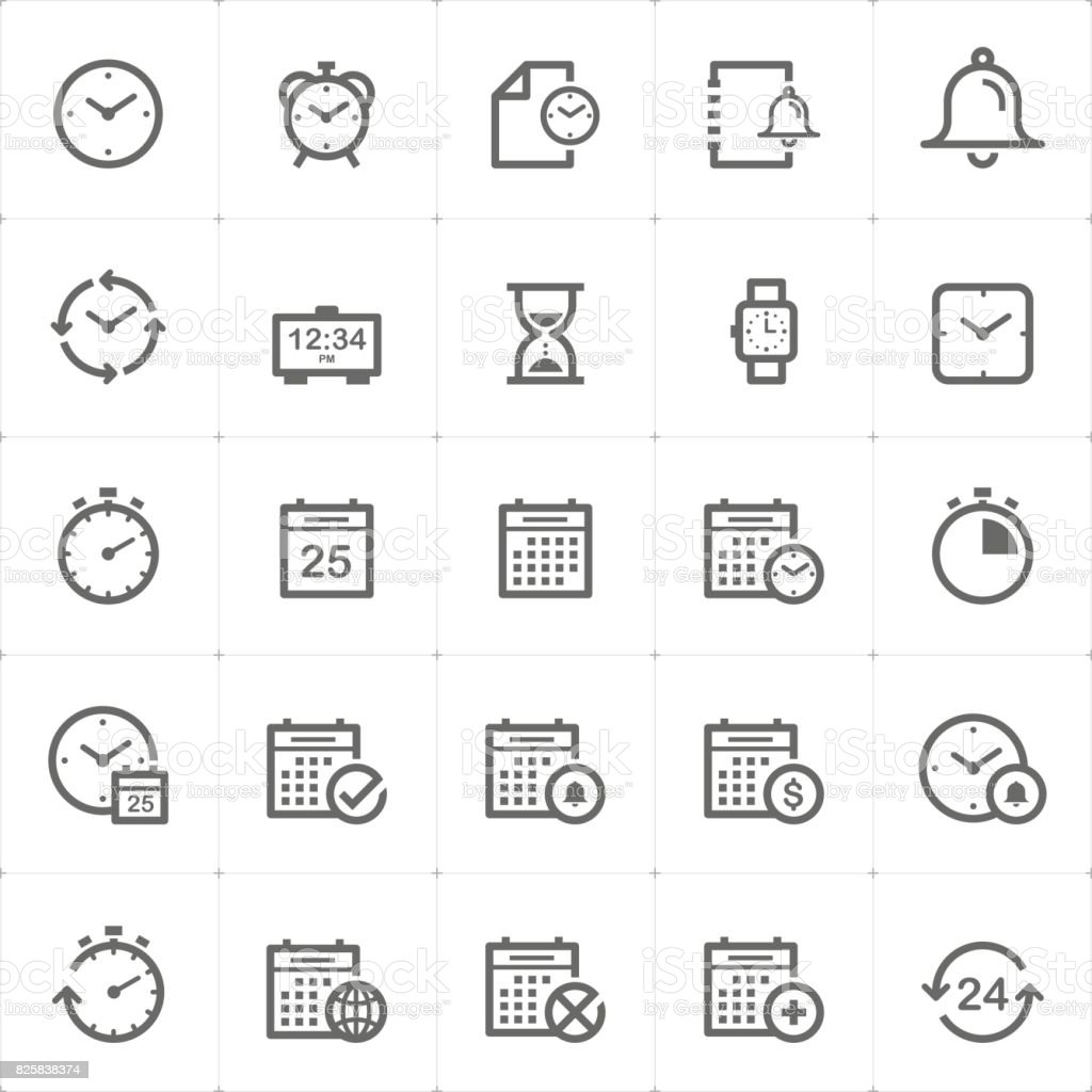 Icon set - time and schedule outline stroke vector illustration vector art illustration