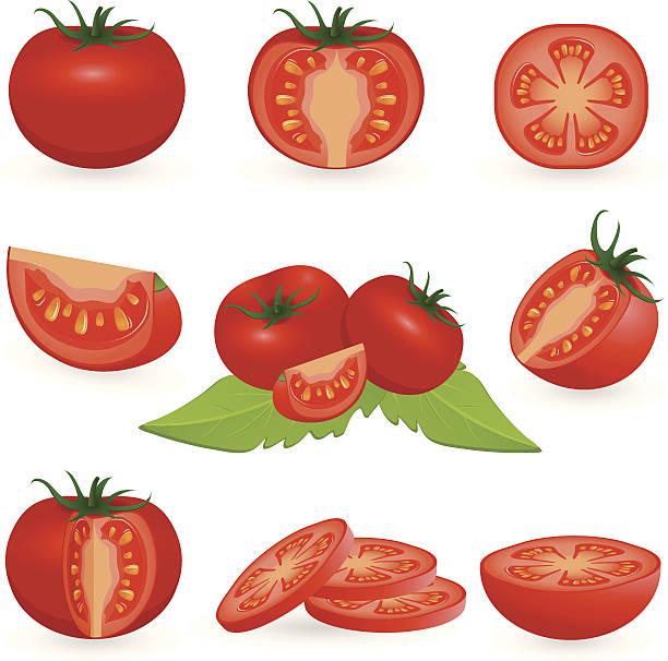 ilustrações de stock, clip art, desenhos animados e ícones de conjunto de ícones de tomate - tomate