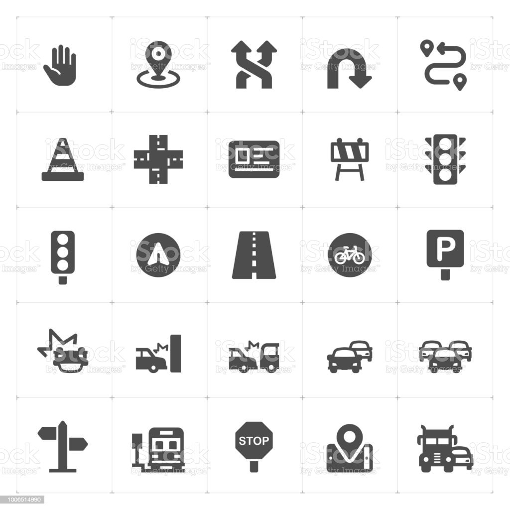 Icon set - traffic and accident filled icon style vector illustration on white background vector art illustration
