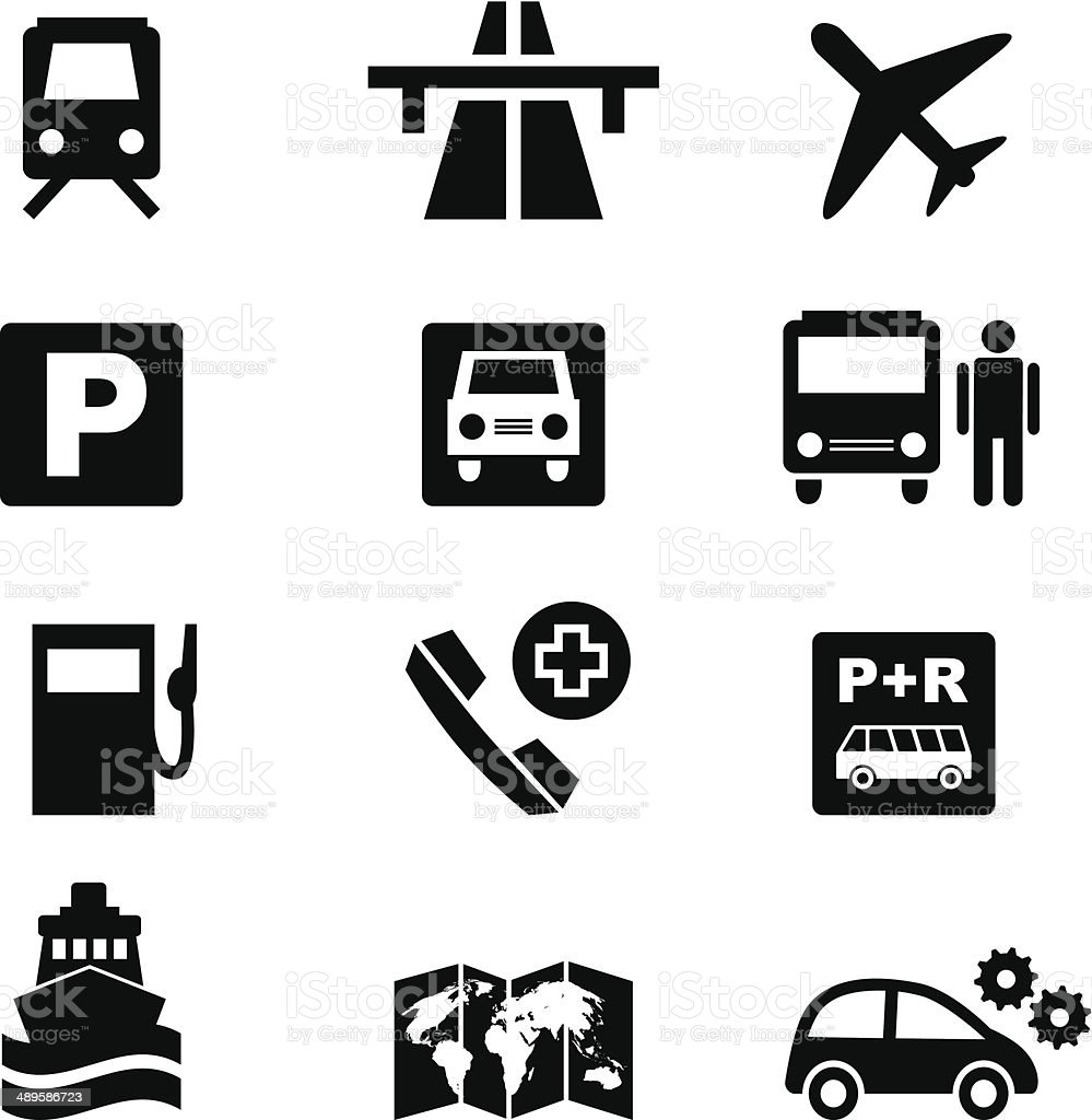 Icon set traffic and travel in black vector art illustration