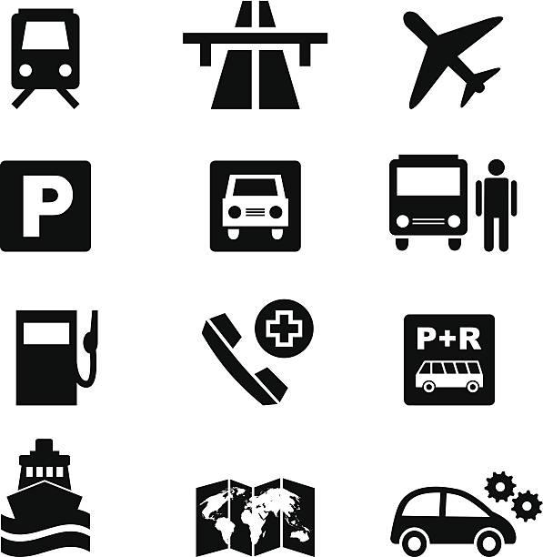 Conjunto de iconos de viajes en tránsito y negro - ilustración de arte vectorial