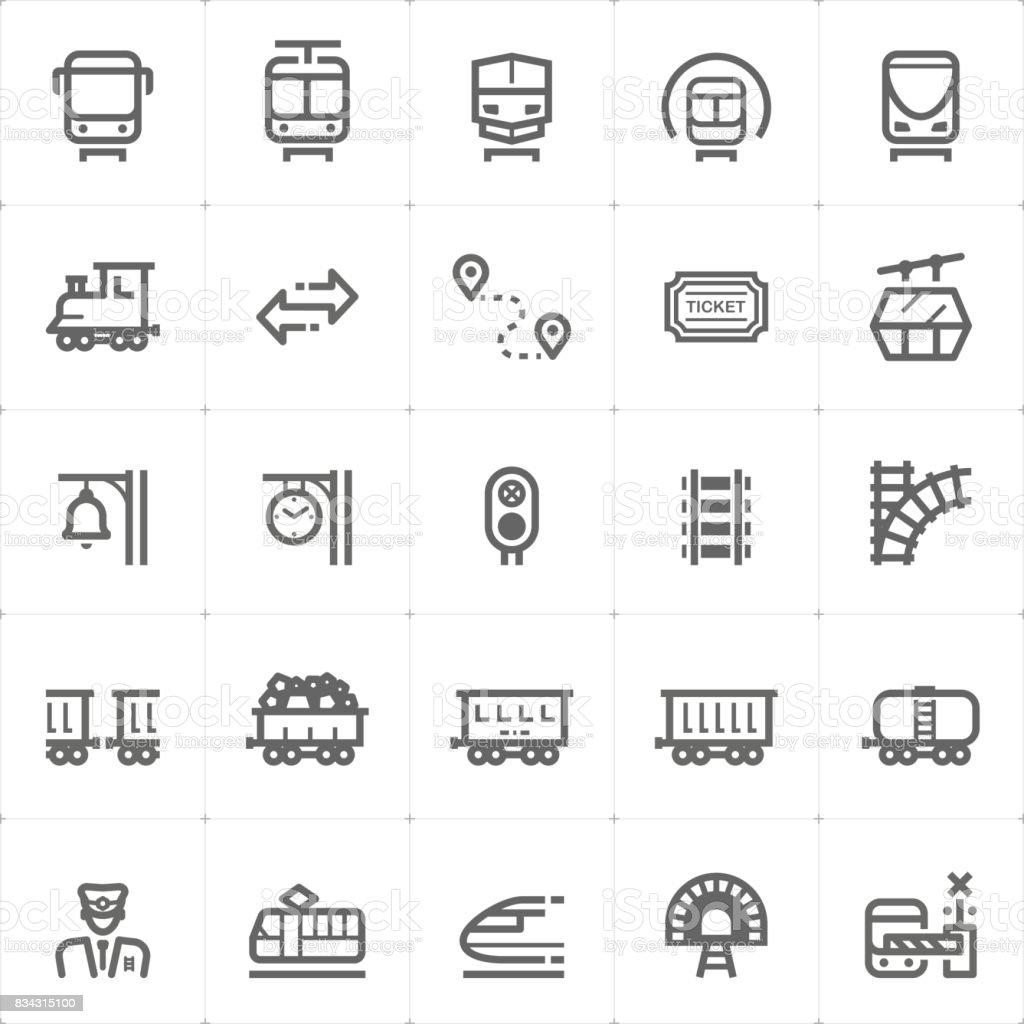 Icon set – trainieren und transport Vektor-illustration – Vektorgrafik