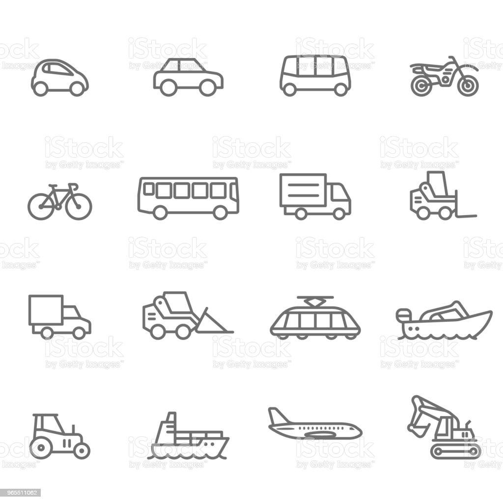 Icon Set, Transportation - Illustration Mode of Transport, Truck, Motorcycle, Bus, Semi-Truck Airplane stock vector