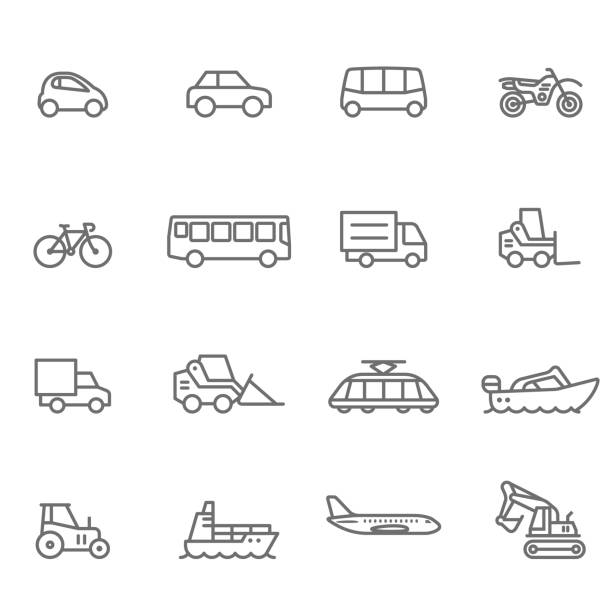 Icon Set, Transportation - Illustration Mode of Transport, Truck, Motorcycle, Bus, Semi-Truck airplane symbols stock illustrations