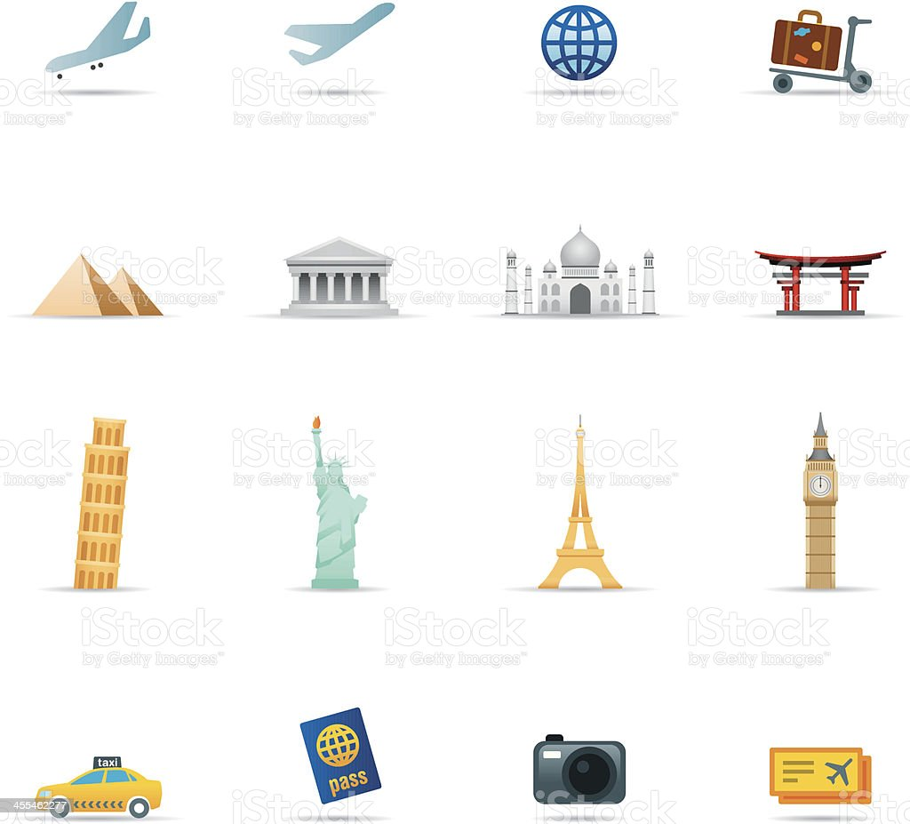 Icon Set, Travel items Color vector art illustration