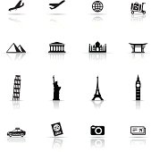 Icon Set, Travel items on white background, made in adobe Illustrator (vector)