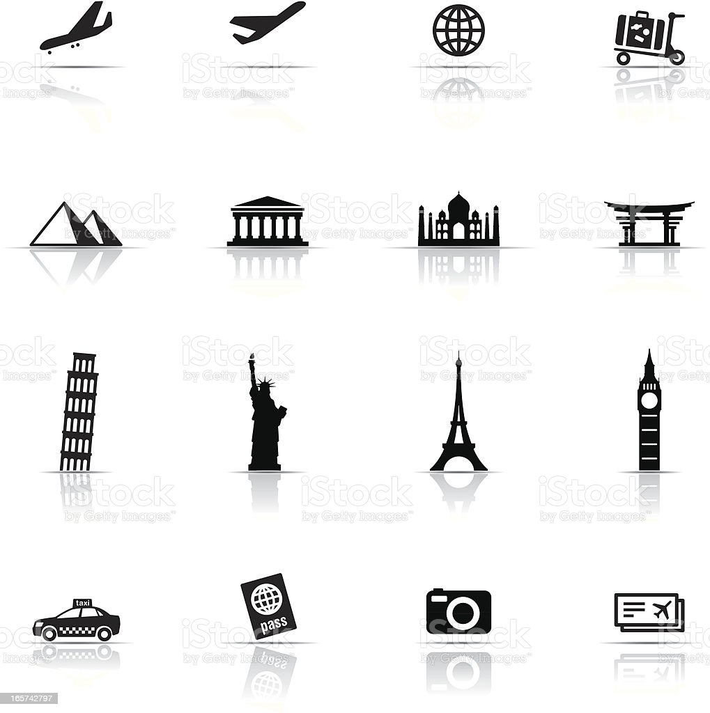 Icon Set, Travel items vector art illustration
