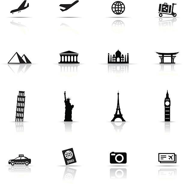 stockillustraties, clipart, cartoons en iconen met icon set, travel items - monument