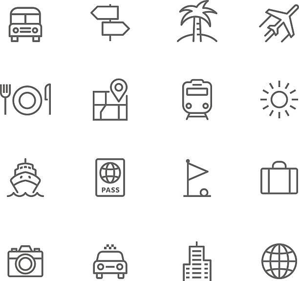 icon-set, reise - ferien  und feiertagssymbole stock-grafiken, -clipart, -cartoons und -symbole