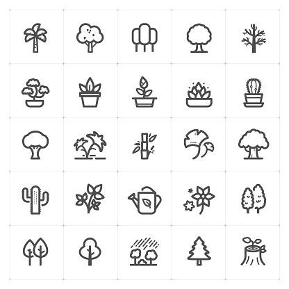 Icon set - Tree and Natural icon outline stroke vector illustration on white background