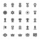 Icon set - trophy and awards filled icon style vector illustration on white background