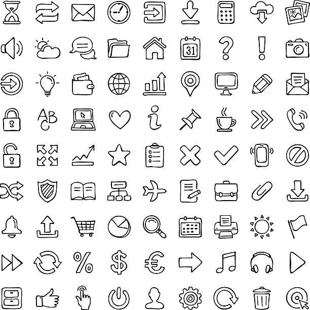 stockillustraties, clipart, cartoons en iconen met icon set. - potloodtekening
