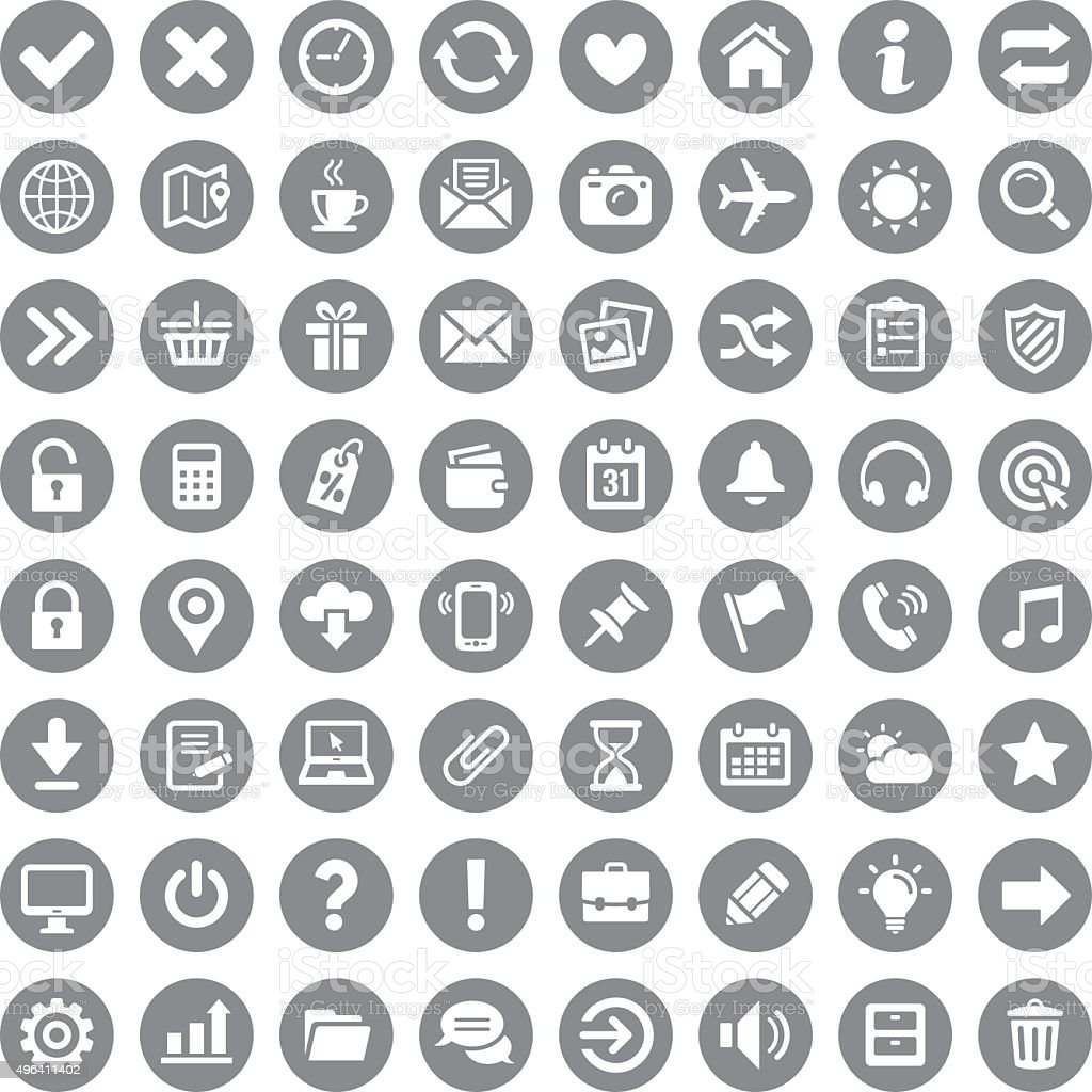 Icon set vector art illustration