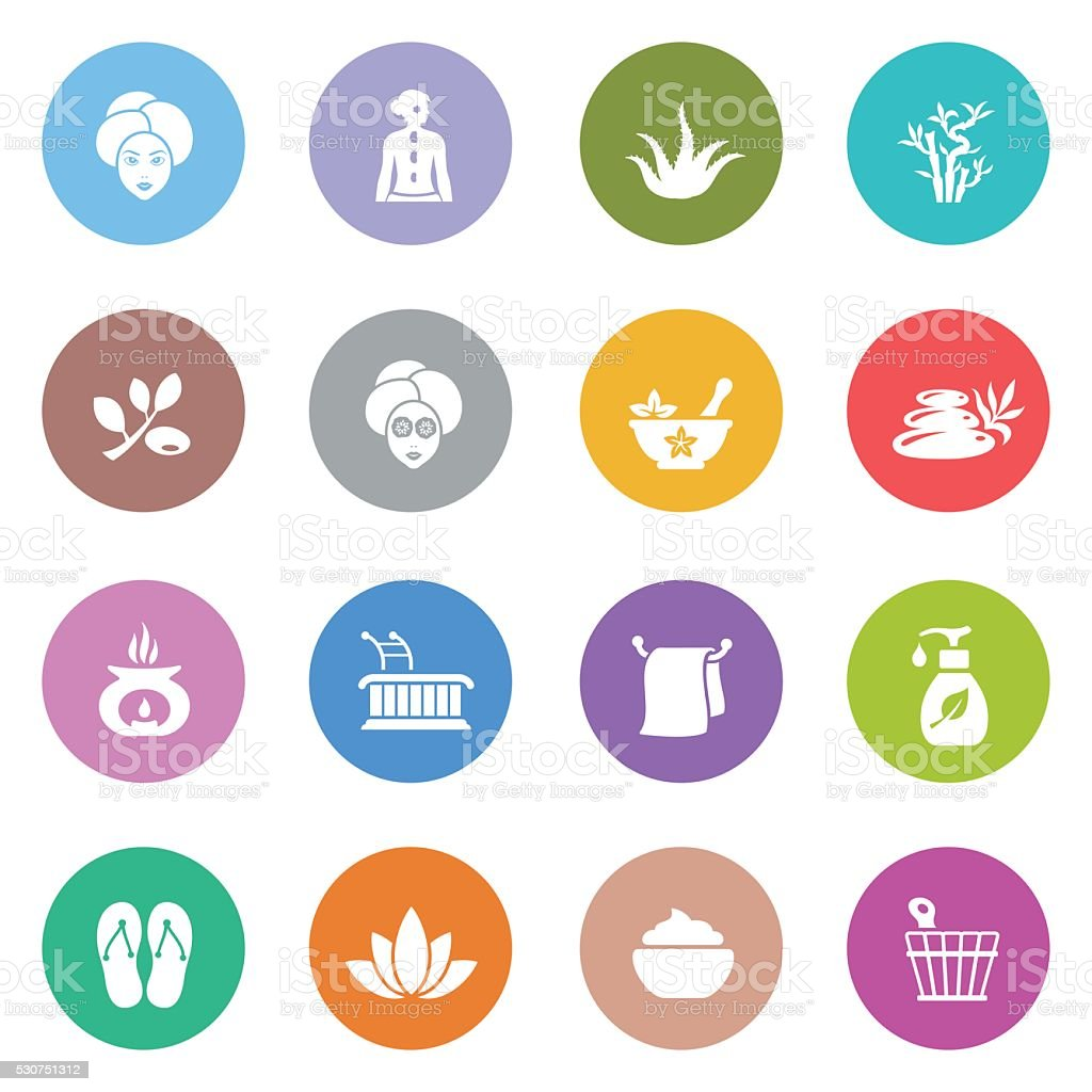 SPA icon set vector art illustration