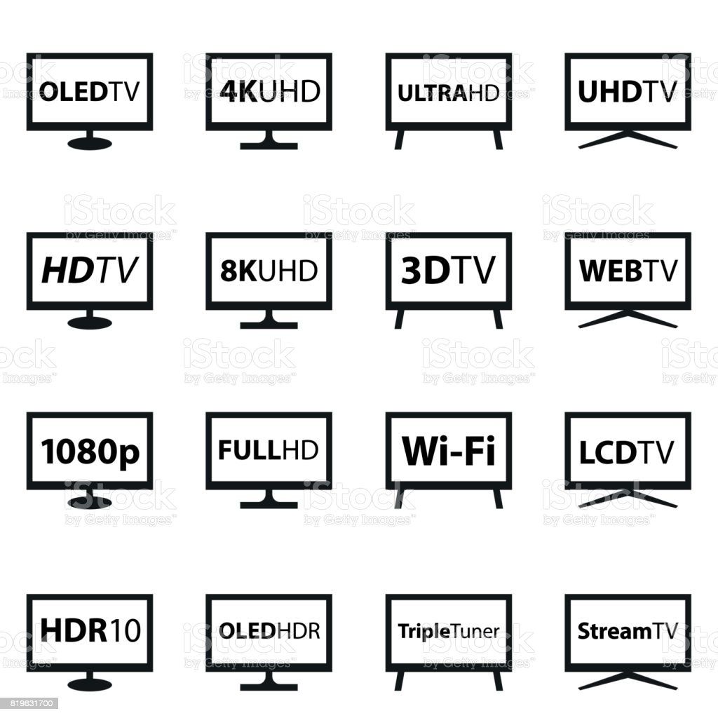 TV Icon Set Eps10 vector illustration with layers (removeable). EPS and high resolution jpeg file included (300dpi). Computer stock vector