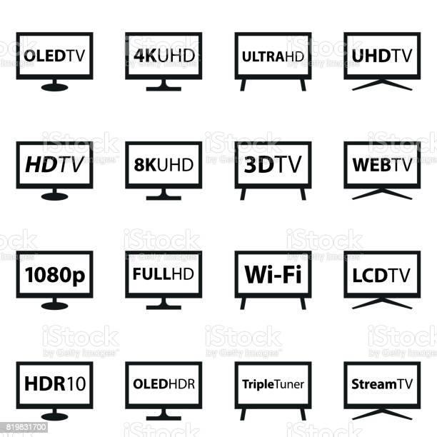 Tv Icon Set Stock Illustration - Download Image Now