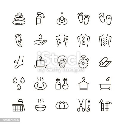 SPA icon set. Collection of high quality outline beauty pictograms in modern flat style. Black massage symbol for web design and mobile app on white background. Sauna line logo.