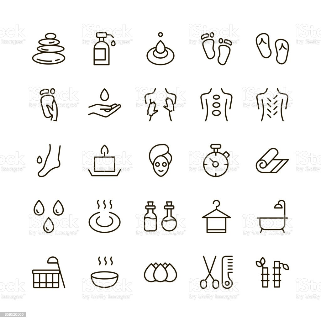 SPA icon set. vector art illustration