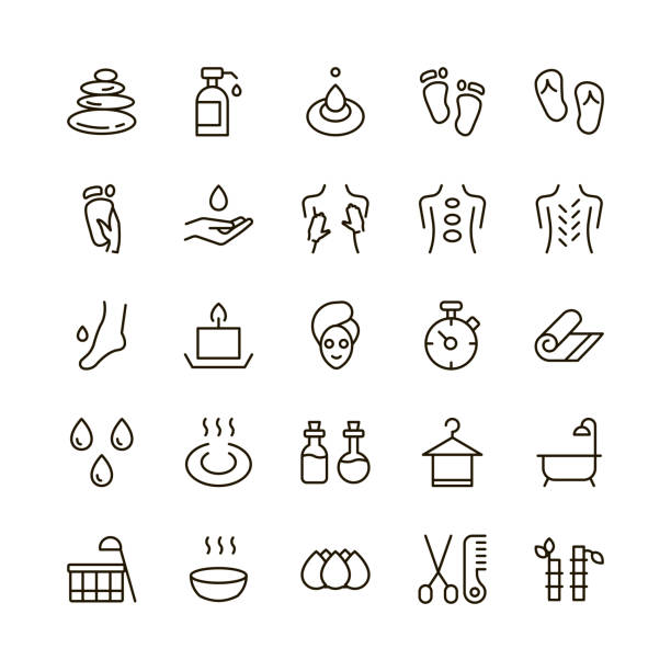 spa icon set. - massage stock illustrations