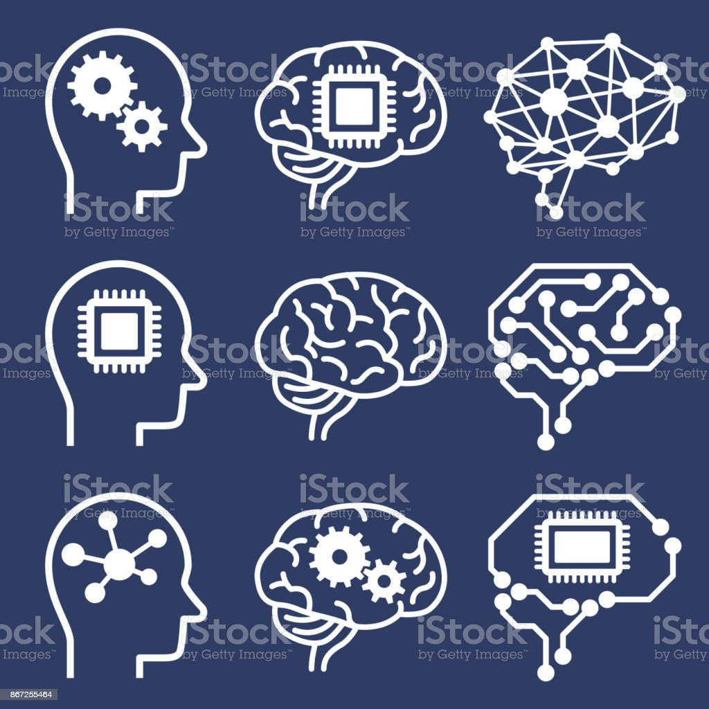 AI (artificial intelligence) icon set. royalty-free ai icon set stock illustration - download image now