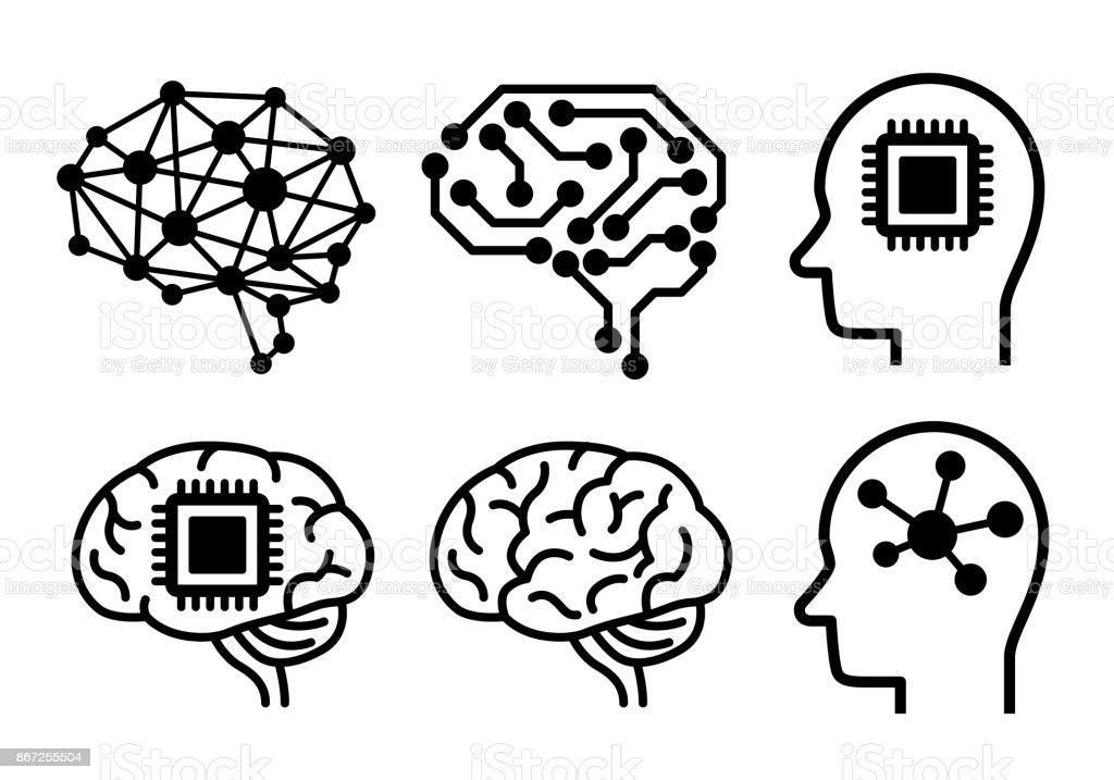 AI (artificial intelligence) icon set. royalty-free ai icon set stock illustration - download image now