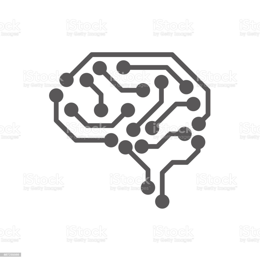 AI (artificial intelligence) icon set. vector art illustration