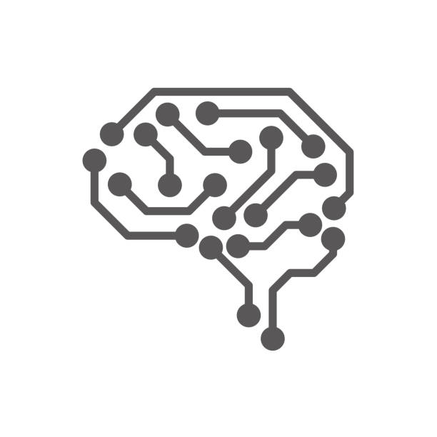 ai (artificial intelligence) icon set. - sztuczna inteligencja stock illustrations