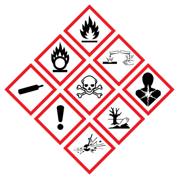 GHS icon set Set of all icons and symbols from ghs pictogram. hazardous chemicals stock illustrations