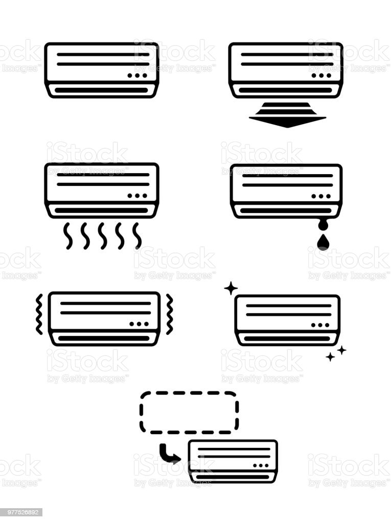 AC ( air conditioner) icon set vector art illustration
