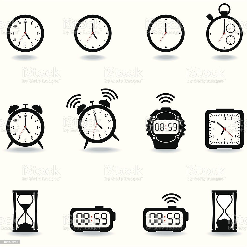 Icon Set, Watches vector art illustration