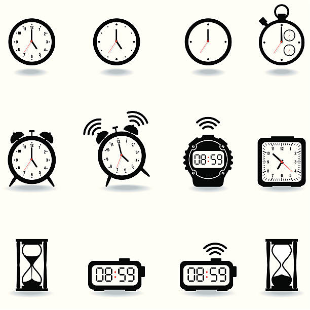 Icon Set, Watches vector art illustration