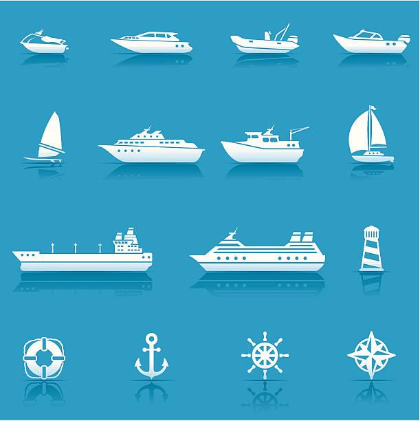 ilustrações de stock, clip art, desenhos animados e ícones de conjunto de ícones de transporte de água - fishing boat
