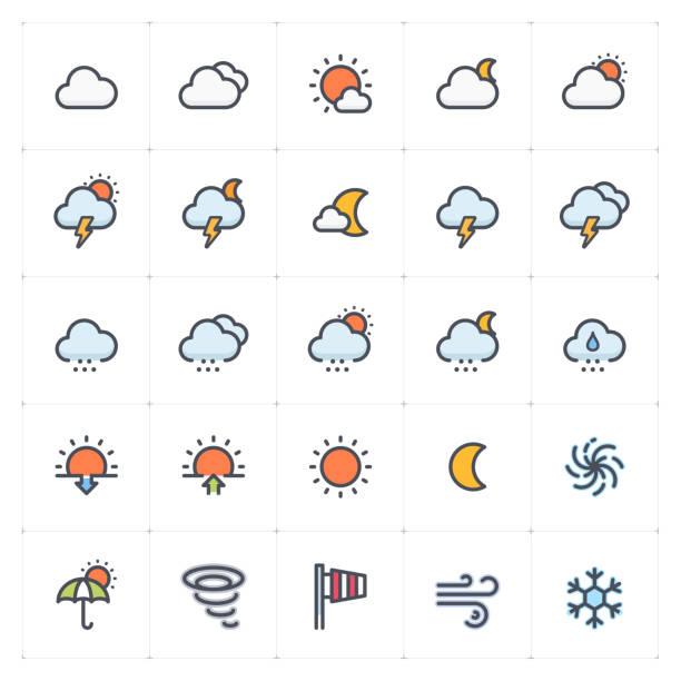 icon-set-wetter und vorhersage vollfarben-icon-stil vektordarstellung auf weißem hintergrund - schneeflocke sonnenaufgang stock-grafiken, -clipart, -cartoons und -symbole