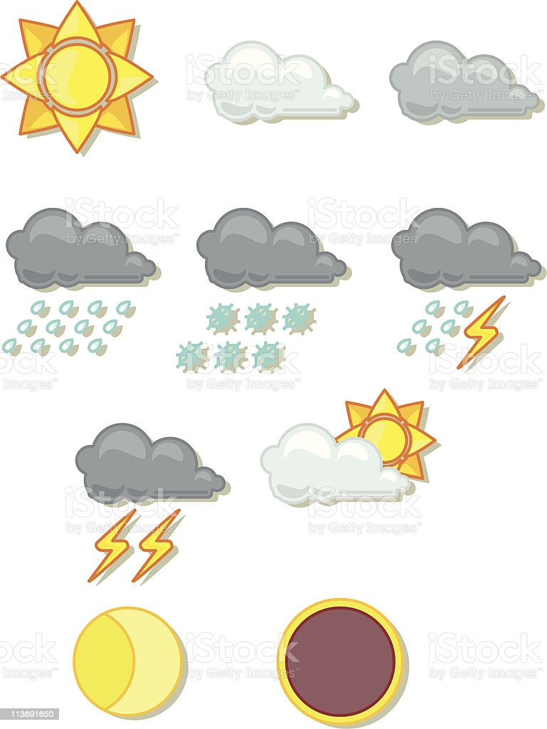 icon set : weather (part one) royalty-free icon set weather stock vector art & more images of cloud - sky