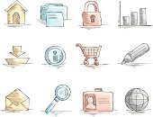 Pack with 12 web icons. Inlude Zip file with each icon in 4 diferent colors.