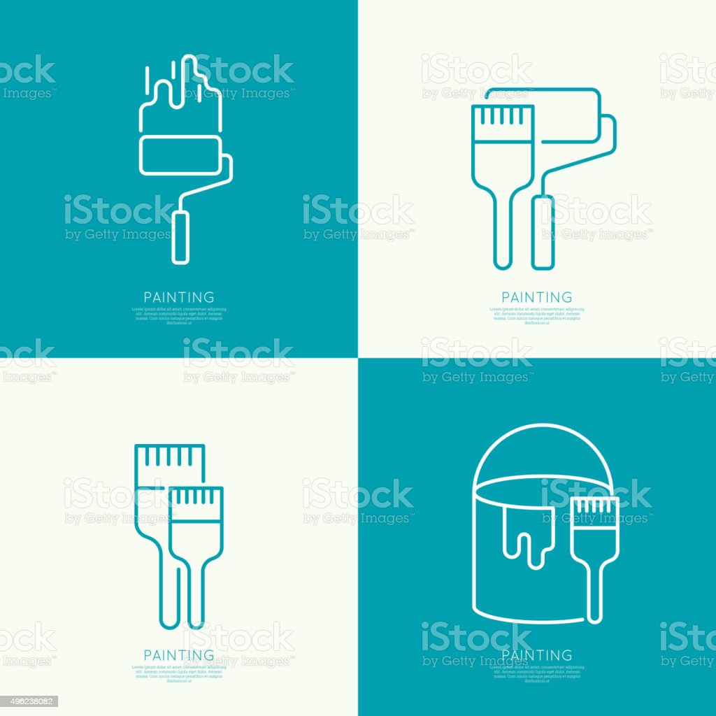 Icon set mit brus – Vektorgrafik