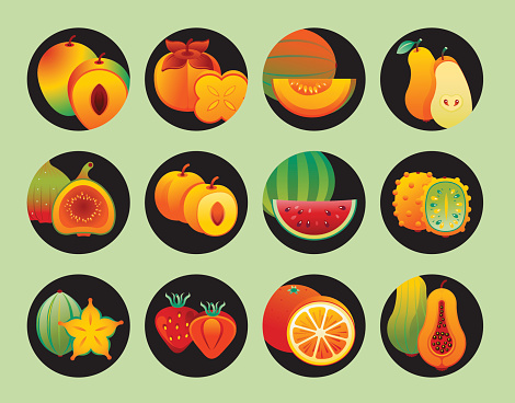 Icon set with fruits and berries